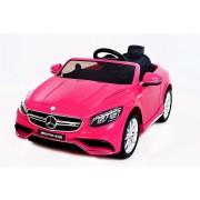 Mașinuță electrică Mercedes-Benz S63 AMG, roți moi EVA, suspensie, 12V, telecomandă 2,4 GHz, 2X MOTOARE, roz, licență ORGINALĂ