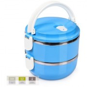 Lunch Box Food Grade Stainless Steel Compact Office Lunch Box Tiffin Heat Resistance Container Box(Blue 2 Layer)