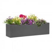 Solidflor bloempot 75 x 20 x 20 cm glasvezel binnen/buiten donkergrijs