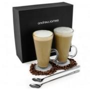 Set cadou 2 pahare cafea Latte, 2 Lingurite lungi incluse, AJ000065