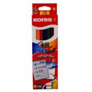 KORES Deutschland GmbH Kores Kolores Jumbo Starter Set Buntstift, Farbstift aus Lindenholz mit bruchsicherer Mine, 1 Set = 6 Stück + 1 Bleistift + 1 Spitzer + 1 Radiergummi