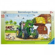 Детски пъзел - Трактор във фермата - Дисни, 15 елемента, Ravensburger, 706098
