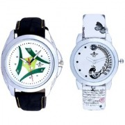 Luxury Green Tri Fan And White Peacock Feathers Couple Casual Analogue Wrist Watch By Taj Avenue