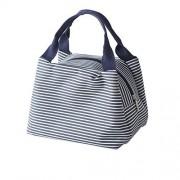 XDOBO Moistureproof Useful Cute Linen Stripe Lunch Bag Tote Bag Picnic Bag (Navy blue)