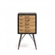 Refe - Chiffonier vintage bois et métal 5 tiroirs