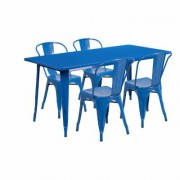 Flash Furniture 31.5Inch W x 63Inch L Rectangular Metal Table Set with 4 Bistro Chairs - Blue, Model ETCT005430BL
