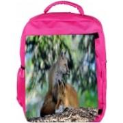 Snoogg Eco Friendly Canvas Family Fox Designer Backpack Rucksack School Travel Unisex Casual Canvas Bag Bookbag Satchel 5 L Backpack(Pink)