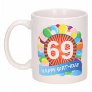 Bellatio Decorations Verjaardag ballonnen mok / beker 69 jaar