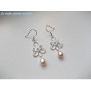 Cercei chandelier din argint cu perle naturale de cultură roz