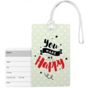 100yellow Luggage Tags- You Make Me Happy Print High Quality Pvc Tag With Silicon Strap- Ideal For Gift Luggage Tag(Multicolor)