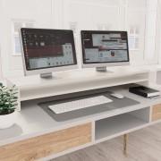 vidaXL Stojan na monitor biely 100x24x13 cm drevotrieska