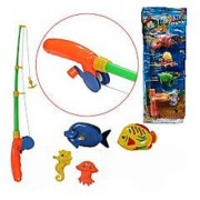 DDH Fishing Game Rod and Reel Fishing Bath Toy Set for Kids with 4 Unique Fish