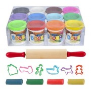 """Dough Creativity Play Set By Art Creativity The Complete Doh Set Includes 12 Vibrant Colors Clay 6 Shape Cutters 7.5"""" Rolling Pin & More Non Toxic Hours Of Playing! Best Gift Idea."""