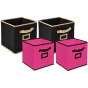 Billion Designer Non Woven 4 Pieces Small & Large Foldable Storage Organiser Cubes/Boxes (Black & Pink) - CTKTC35339 CTKTC035339(Black & Pink)