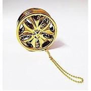 Alloy Wheel Car Hanging Air Freshener Gel Perfume For Car Home Office- (Golden / Silver)