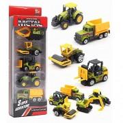5 Pieces Construction Excavator Dump Truck Car Vehicle Mini Plastic Model Playset Preschool Learning Toys Set for Boys Kids Toddler Favors Die Cast Deluxe Set