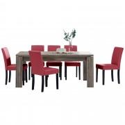 PremiumXL - [en.casa] Blagovaonski stol - rustični hrast - 170x79 cm - sa 6 tapeciranih stolica - crvena -