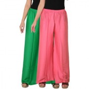 Culture the Dignity Women's Rayon Solid Palazzo Ethnic Pants Palazzo Ethnic Trousers Combo of 2 - Green - Baby Pink - C_RPZ_GP2 - Pack of 2 - Free Size