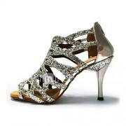 Dames Latin Glitter Sandalen Optreden Glitter Naaldhak Goud Zwart Zilver Paars Rood 7,5 - 9,5 cm Aanpasbaar