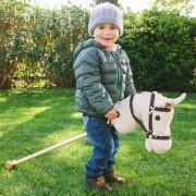 Căluț alb de călărit din lemn cu roți și sunet