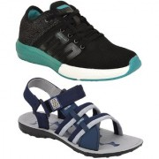 Chevit Men's Combo Pack of 2 Training Shoes With Floater Sandals (Training Shoe)