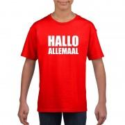 Shoppartners Hallo allemaal tekst rood t-shirt voor kinderen