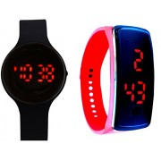 Lemonade - Pack of 2 - Black & Red Color Unisex Silicone Digital LED Bracelet Band Wrist Watch for Kids, Boys, Men, Girls, Women