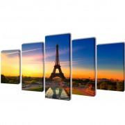 Canvas Wall Print Set Eiffel Tower 200 x 100 cm