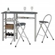 IDIMEX Bartisch STYLE mit 2 Stühlen in grau