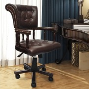 vidaXL Chesterfield Captains Swivel Kontoritool Pruun
