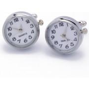 Manchetknopen - Echt Horloge Wit met Witte Wijzerplaat Rond