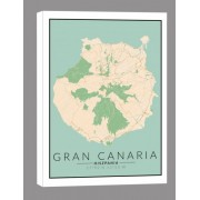 Gran Canaria mapa kolorowa – obraz na płótnie