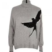 River Island Womens Grey stud embellished bird roll neck jumper