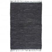 vidaXL Ръчно тъкан Chindi килим, кожа, 160x230 см, сив