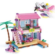 Cogo Friends Series 14515 Beach Villa 423 Pcs Building Block Sets for Girls DIY Bricks baby Toys