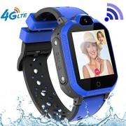 PTHTECHUS 4G GPS Niños Smartwatch Phone, niños y niña Teléfono Reloj Inteligente con SOS 2 vías Chat de Voz y Video Alarma Podómetro WiFi Cámara Inteligente Watch (Azul)