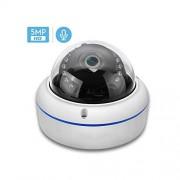 MOVE CC-webcam Cámara IP H265 de audio de 2 Mp P 5 Mp, 2,8 mm, a prueba de vándalos, 48 V, Poe Cameraonvif P2P, detección de movimiento, Rtsp, alerta de correo electrónico, cámara Poe Dome, 48V PoE 3MP, 3.6mm