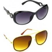 Hrinkar Over-sized Sunglasses(Grey, Brown)