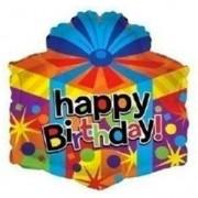 "Newballonstore Pallone mylar 18"" Happy Biorthday pacco regalo"