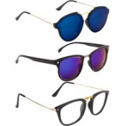 NuVew Clubmaster, Rectangular, Round Sunglasses(Blue, Clear, Green, Blue)