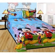 Bs blue micky mouse double bedsheet with two pillows