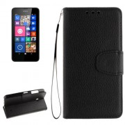 For Nokia Lumia 630 / 635 Litchi Texture Horizontal Flip Leather Case with Holder & Card Slots & Wallet & Photo Frame & Lanyard(Black)