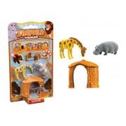 Set 2 figurine Anipals + casuta - girafa si hipopotam