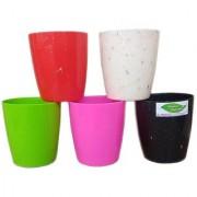 Minerva Naturals - Imitation marble colorful small decor plastic planters(set of 5 ) Multi color