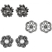 GoldNera Small Stud Tops Earring Floral Round Designs Light Weight Daily Office Wear White Metal Stud Earring