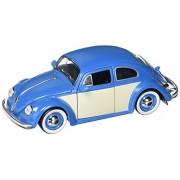 JADA 1:24 W/B Metals Bigtime Kustoms 1959 Volkswagen Beetle 2-Tone with Baby Moon Wheels Blue Die Cast Car
