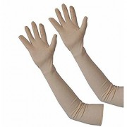 Womens Cotton Full Hand Biking and Driving Dust and Sun Protection Gloves (Beige Medium)