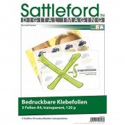 Sattleford 5 Klebefolien A4 transparent für Inkjet