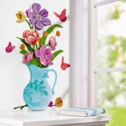 Decoratiune autocolanta perete Vaza cu flori