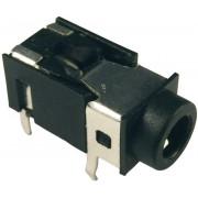 Soclu jack pentru montare FC86127, Ø interior 3,5 mm, 4 pini, carcasa PVC, negru